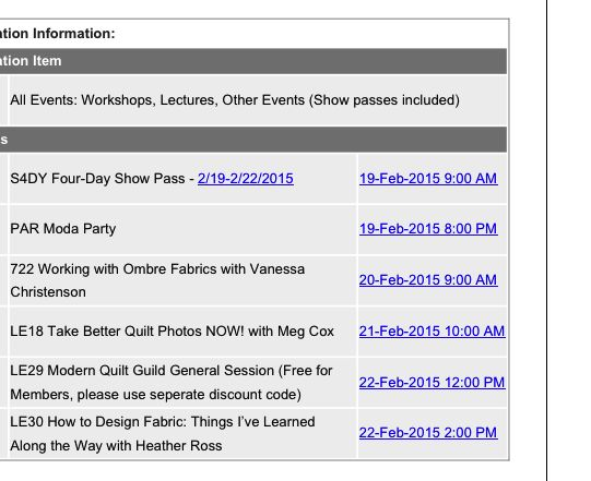 Quilt Con Schedule